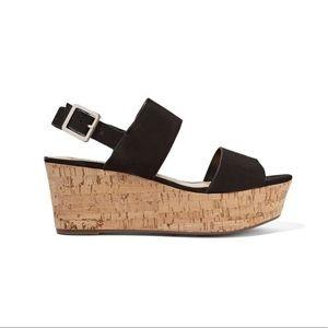 Schultz Flatform Black Cork Suede Wedge Sandals